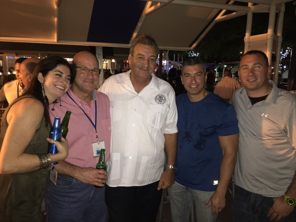 NNEPAC members Leanne Wancheck, Greg Murphy, Miami PD Major Roman Martinez, Rob DiFlumeri, and Mike Jewett enjoying the hospitality offered by the Miami PD at the November 2015 CALEA Conference.